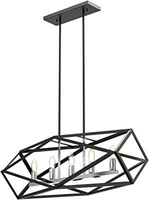 west ninth vintage flushed mount wood single ceiling farmhouse Colonial Farmhouse -Style island lighting 5 light with chrome and graphite finish medium bulbs 32 inch 300 watts