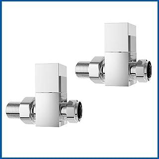 Válvula para radiadores de baño 2 pieza cromo SQUARE válvula de derivación