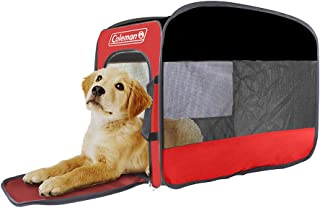 Coleman Portable Folding Pop Up Pet Kennel, Collapsible Travel Soft Crate - Black/Red - Small