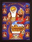 Zehn Sikh Guru mit Golden Tempel mit ADI Granth und ekumlar Symbol, ein Poster Bild mit Glitzer...