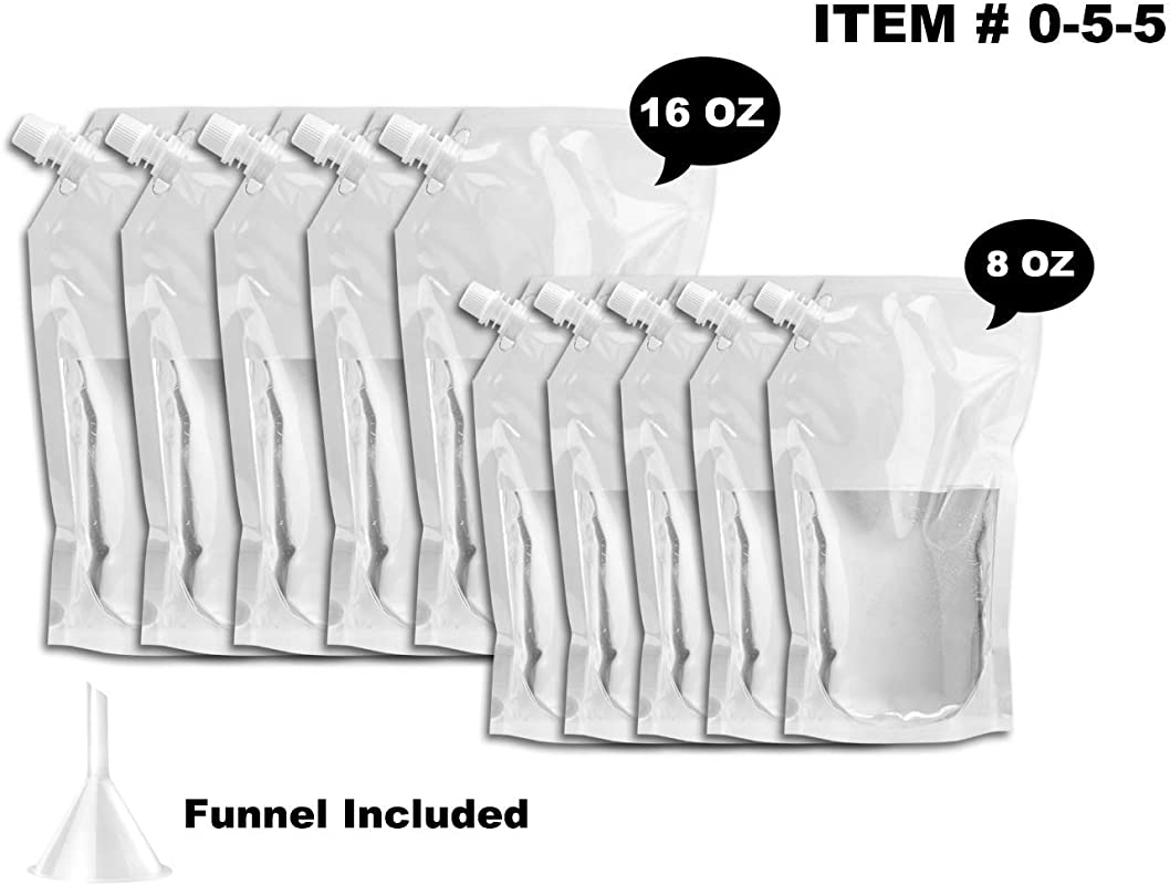 Flask Set For Cruises And Travel Concealable And Reusable Alcohol Juice Travel Plastic Bags For Drink 5 X 16 Oz 5 X 8 Oz 1 Funnel 55 FlaskKit