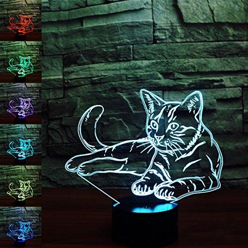 Preisvergleich Produktbild 3D katze Illusions-Lampen,  Tolle 7 Farbwechsel Acryl berühren Tabelle Schreibtisch-Nachtlicht mit USB-Kabel für Kinder Schlafzimmer Geburtstagsgeschenke Geschenk