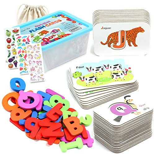 2 in 1 ABC Alphabet and Number Flash Cards and Wooden Jigsaw Puzzle Set for Toddlers 2-5 Years Old, Montessori, Kindergarten, and Preschool Educational Tool for Kids with Animals, Colors, Box and More