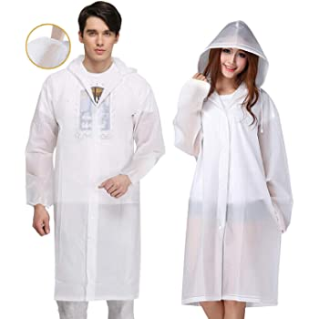 Exptolii Rain Poncho for Adults, 2 Pack EVA Reusable Raincoat Emergency Rain Gear Jacket with Hood and Elastic Sleeve (White)