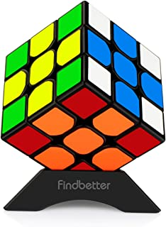 Findbetter 3RS2 競技用キューブ 3x3x3 立体パズル 令和進化版 3x3 ver.2.1 黒素体 世界基準配色 PVCシール こども 脳トレ 知育玩具 回転スムーズ パズルスタンド付き