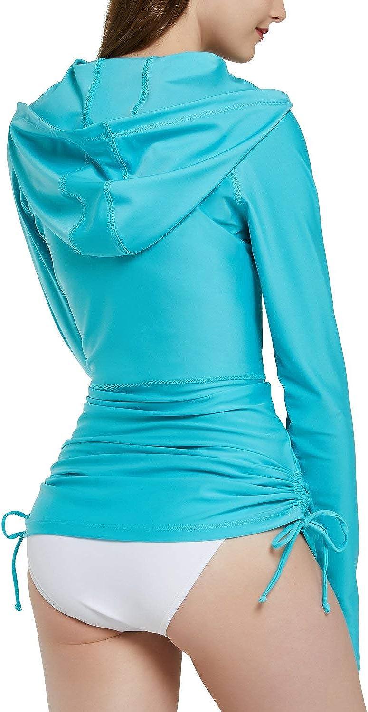 BALEAF Women's UPF 50+ Long Sleeve Rash Guard Shirts Rashguard with Hood Pockets
