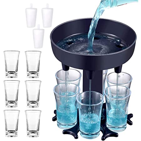 SQYX Shot Glass Dispenser 6 Ways,Soda Can Beer Glasses,Shots Dispenser Stand,Shot Glass Dispenser Holder,for Bar Cocktail Great Party Gift Blue