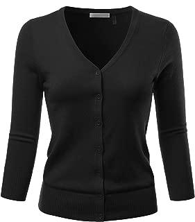 Women's 3/4 Sleeve V-Neck Button Down Stretch Knit Cardigan Sweater (S-3X)