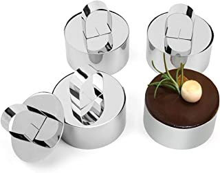 Food Mould for Pastry Cake Mousse and Pancake, 4 Set (4 Rings,4 Pushers), Stainless Steel Round Form Rings for Catering Bu...