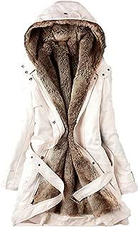 Women Coats Winter, Womens Warm Long Coat Fur Collar Hooded Jacket Slim Parka Outwear