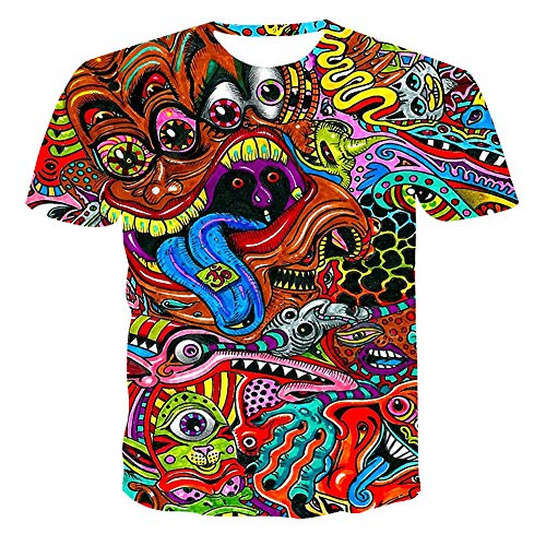 Unisex T Shirt 3d Digital Printing Couple Outfit Tops Round Neck Casual Short Sleeve,04,130