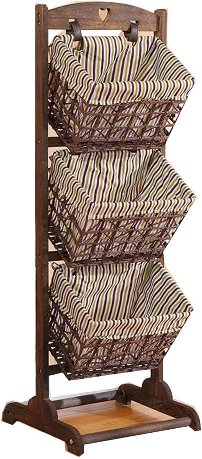 , Wooden + Fabric Basket 3 Ground Study Room -D