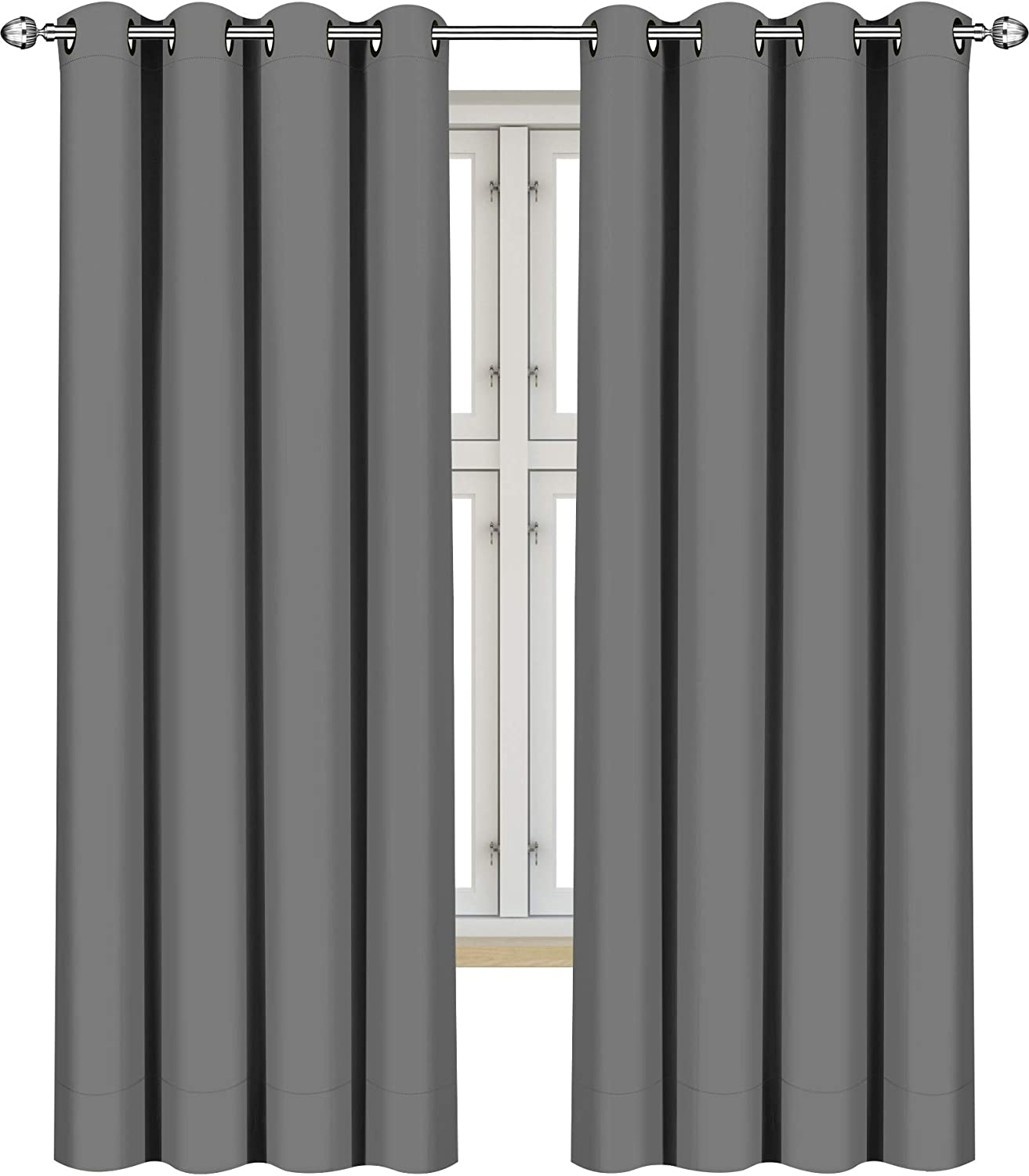 """Utopia Bedding 2 Panels Eyelet Blackout Window Curtains Thermal Insulated for Bedroom 183 cm Drop (Grey, 117 cm Wide) 2xW46"""" xL72"""" (117 x 183 cm) Grey"""