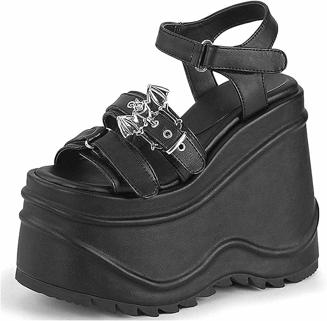 YIYA Women's Black Chunky Heel Goth Bat Platform Bu Sandals with Max 42% OFF Max 43% OFF