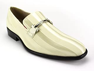Expressions 6757 Men's Formal Loafer Slip-on Dress Shoe Striped Satin Tuxedo by RC Roberto Chillini