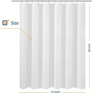 N&Y HOME Fabric Shower Curtain Liner 60 inches Long, Hotel Quality, Machine Washable, White Shorter Bathroom Curtains with Grommets, 72x60