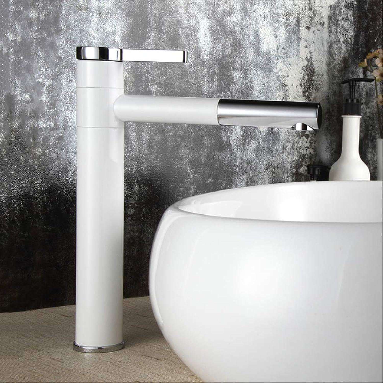 Waschtisch-Mischbatterie 360 Grad drehen Art Becken-Hahn-weies und silbernes Chromende-Badezimmer-Hahn-Einhandbadezimmer