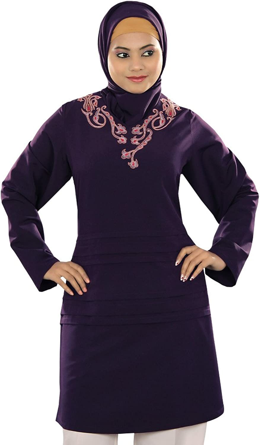 MyBatua Women's Beautiful Misba Tunic in Dark Purple