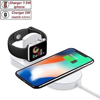 ATETION Cargador inalámbrico para Apple Watch, Soporte de Plataforma de Carga 2 en 1 Compatible con con para iPhone XS/XS MAX/XR/X / 8 / Plus/Series 4/3/2/1