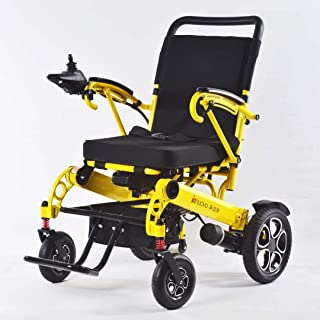 Innuovo Foldable Electric Powered Wheelchair, Heavy Duty for Indoors and Outdoors, Extra Wide Seat, Safe for Air Travel, Travel Distance 6.25 Miles Per Charge, Battery Included, Model W5521 Yellow