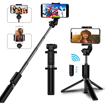 Selfie Stick Bluetooth, AYY Extendable Selfie Stick Tripod with Wireless Remote Selfie Stick Compatible with iPhone 11 Pro Max/11 Pro/11/XS/XS Max/XR/X/8/8 Plus/7/6s/6, Galaxy S20/S10/S9/S8/Note 10