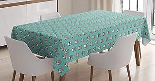 Lunarable Mantel de mapache, diseño de criaturas del bosque, diseño de caraches, cubierta de mesa rectangular para decorac...