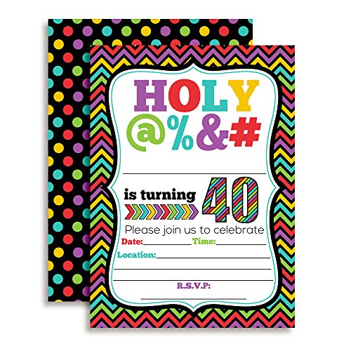 HOLY @% 40th Birthday Party Invitations, 20 Funny 5'x7' Fill In Cards with Twenty White Envelopes for Milestone Birthdays by AmandaCreation