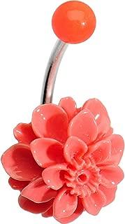 Orange Beautiful Blooming Carnation J-Bar Belly Button Ring