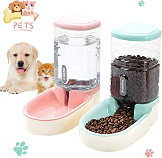 Lucky-M Pets Automatic Feeder and Waterer Set,Dogs Cats Food Feeder and Water Dispenser 3.8L,2 in 1 Cat Food Water Dispensers for Small Medium Big Pets