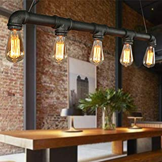 Jasemy - Lámpara colgante vintage retro con forma de tubo de agua E27, lámpara vintage industrial, lámpara colgante de metal para bar, restaurante, cafetería, dormitorio, estudio, vestíbulo