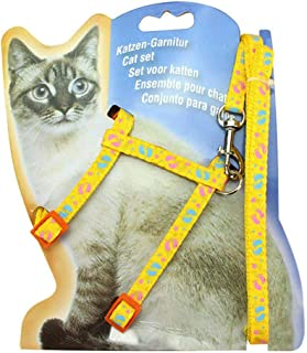 Adjustable Cat Harness Nylon Strap Leashes Collar with Leash Stroll Pullstring Pet Harness Lead, Collar 3 Piece Set Cat Cute Puppy Kitten Safety Light Weight Sturdy Adjustable Stroll