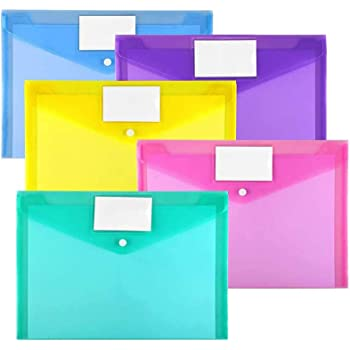 10 Pack Plastic Envelopes Poly Envelopes, Sooez Clear Document Folders US Letter A4 Size File Envelopes with Label Pocket & Snap Button for Home Work Office Organization, Assorted Color