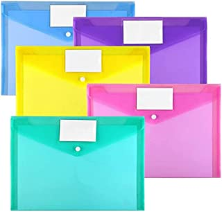 Plastic Envelopes Poly Envelopes, Sooez 10 Pack Clear Document Folders US Letter A4 Size File Envelopes with Label Pocket ...
