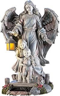 Collections Etc Solar Guardian Angel & Children Garden Statue, Gray