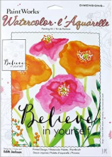 Dimensions 'Believe in Yourself' Watercolor Paint By Number Kit for Adults, 9'' x 12''