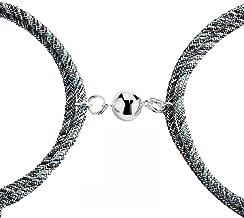 JCGJ 2Pcs Couple Bracelet Friendship Rope Braided Distance Magnetic Lover Jewelry Kit.