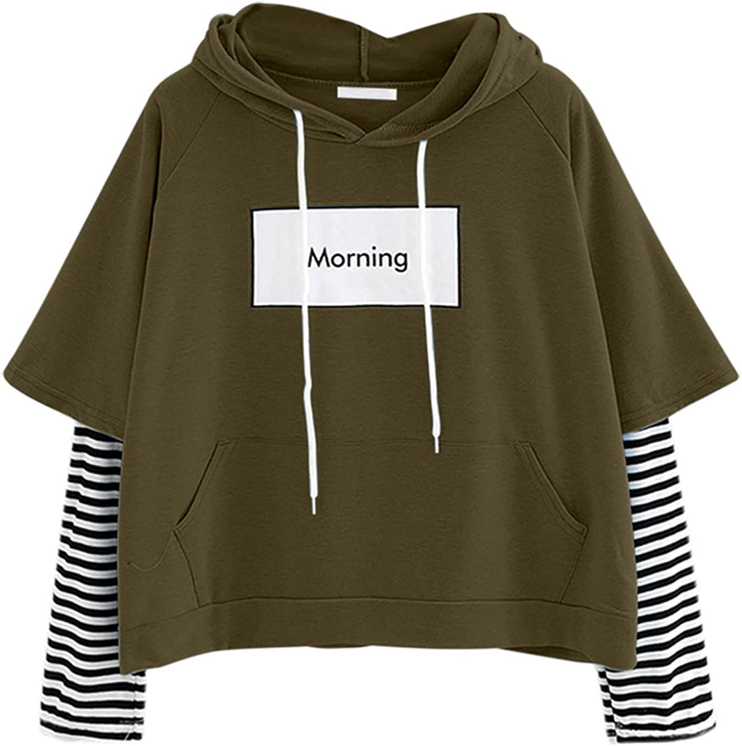 Striped Color Block Hoodies for Womens Teen Girls Loose Casual Tops Shirts Long Sleeve Drawstring Pullover Sweatshirts