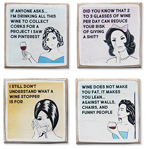 4 Funny Wine Coasters Set & Holder | Rustic Wood with Funny...