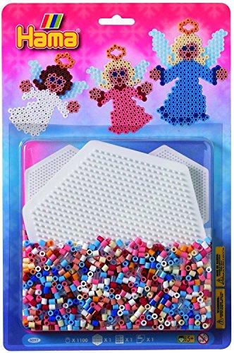 Hama 4097 - Bügelperlen Perlenset Engel, ca. 1100 Perlen, 1 Stiftplatte Zubehör