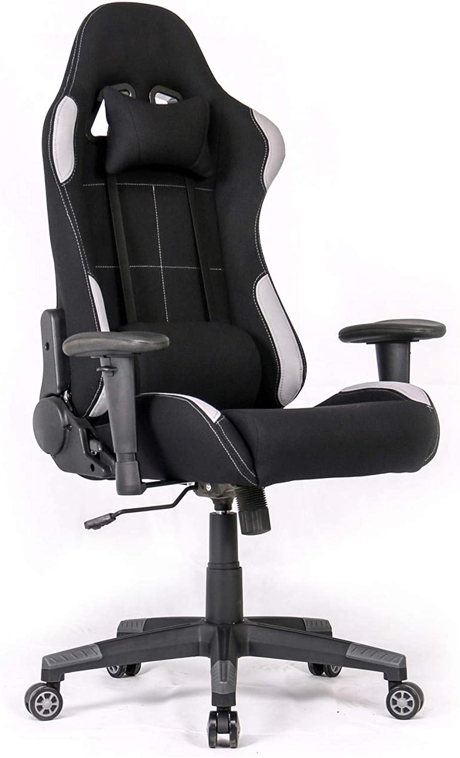 Ergonomic Gaming Chair Racing Style Office Chair Recliner Computer Chair with Massage Fabric High-Back E-Sports Chair Height Adjustable Gaming Office Desk Chair (Black Grey)