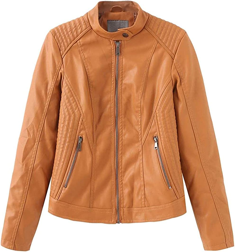 Special sale item Ranking TOP13 Women's Zip Up Faux Leather Slim Moto Jacket Tailoring