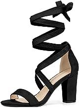 Allegra K Women's Lace Up Block Heels Sandals