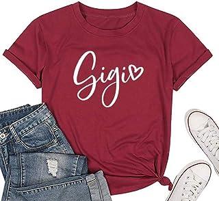 Susongeth Women Gigi Love Heart Print T-Shirt Grandma Tees Short Sleeve Letters Print Tops Shirts