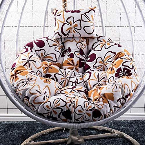 Yuany Swing stoel kussen dikke nest opknoping stoel terug met kussen opknoping ei hangstoel kussen voor binnen of buiten, diameter-120cm (kleur: kleur-1)