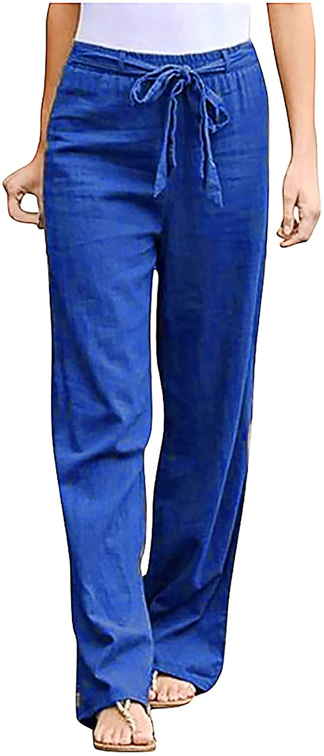 Womens Fashion Linen Pants Solid Color Sashes Straight Casual Long Pants Trousers