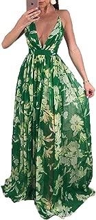 Womens Sexy Spaghetti Strap Deep V Neck Floral Boho Criss Cross Backless Chiffon Beach Party Long Maxi Dress