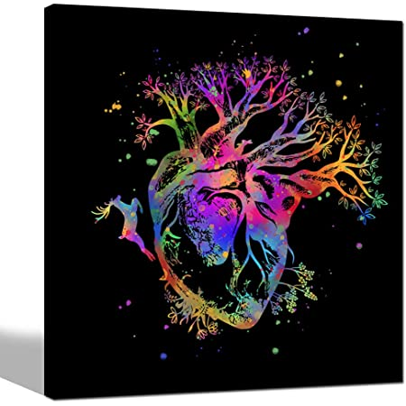 Amazon Com Sechars Tree Of Life Wall Art Pop Color Human Heart Blooming With Tree Canvas Painting Giclee Print Abstract Deer Forest Nature Artwork For Living Room Ready To Hang Posters