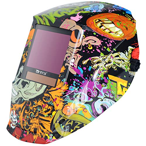 """Antra Welding Helmet Auto Darkening DP9, Viewing Size 3.86X3.23"""", wide shade range 3/5-9/9-14 Great for TIG, MIG/MAG, MMA, Plasma, Grinding, Solar Lithium Power, 6+1 Extra lens covers (Fancy Skull)"""