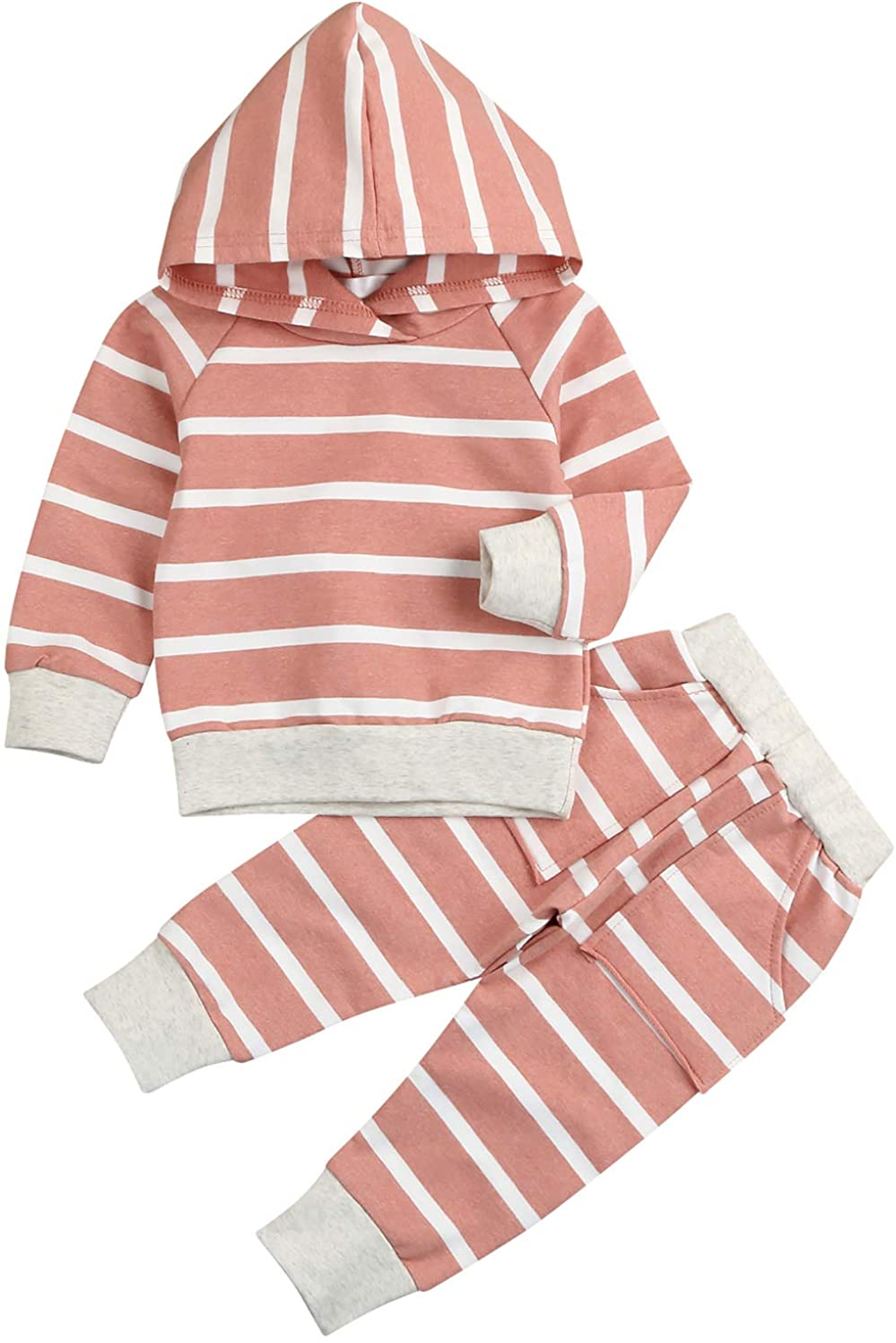 Baby Girls Winter Clothes Set Long Sleeve Striped Hoodie Sweatshirt Pants Outfit Sets for Newborn Infant Toddler Babies