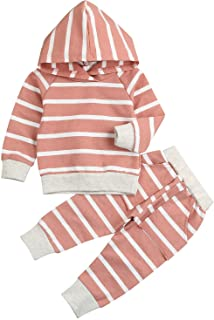 Younger Tree Baby Girl Fall Clothes Long Sleeve Striped Hoodie Sweatshirt Pants Outfit Sets for Newborn Infant Toddler Win...